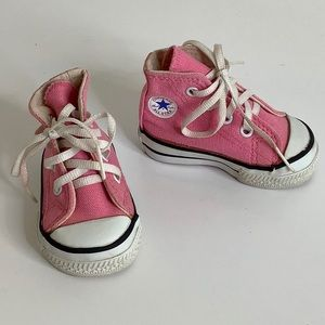 Converse pink high top sneakers Size 2 baby